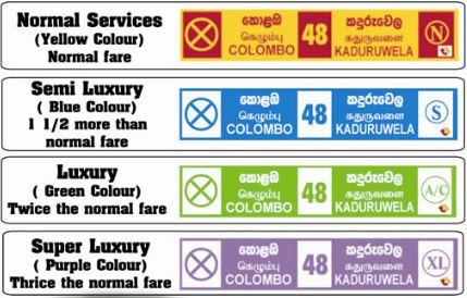 Tarifas autobús en Sri Lanka